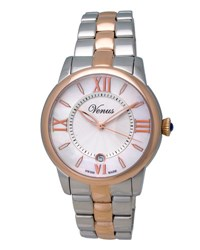 Venus Of Switzerland Impetus Two Tone Time Date Bracelet Watch White