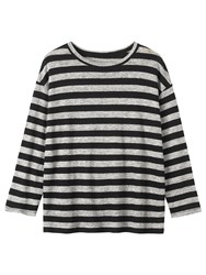 Toast Stripe Linen T Shirt Soft Black Grey Melange