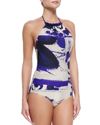 Jean Paul Gaultier High Neck Printed One Piece Swimsuit