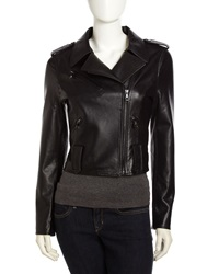 Fade To Blue Perforated Leather Jacket Black