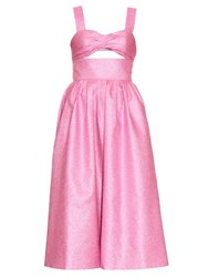 Rosie Assoulin Morning After Lame Midi Dress Pink