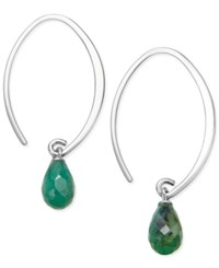 Macy's Emerald Threader Earrings 2 9 10 Ct. T.W. In Sterling Silver