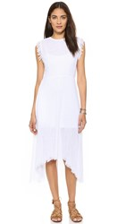 Shakuhachi Sundance Frayed Hem Midi Dress White