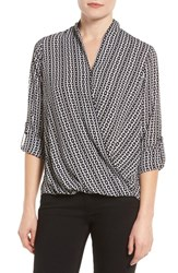 Pleione Women's Faux Wrap Blouse Black Whte Chain