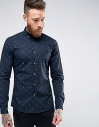 Asos Skinny Anchor Print Shirt In Navy With Long Sleeves Navy