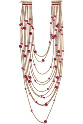 Rosantica Galassia Gold Tone And Bead Necklace Pink