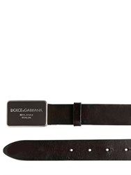 Dolce And Gabbana 30Mm Leather Belt With Logo Plaque
