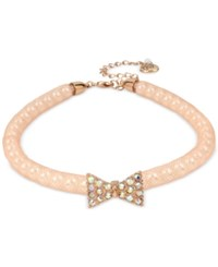 Betsey Johnson Rose Gold Tone Pave Bow And Pink Mesh Choker Necklace