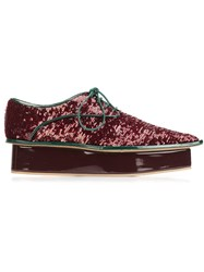 Delpozo Sequin Platform Derby Shoes Red