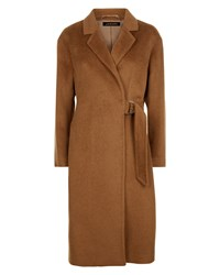 Jaeger Alpaca Wool Half Belt Coat Brown