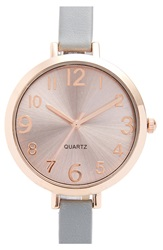 Bp Round Faux Leather Strap Watch Rose Gold