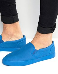 Asos Slip On Plimsolls In Blue Blue Navy