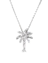 Roberto Coin Tiny Treasures Diamond And 18K White Gold Palm Tree Pendant Necklace