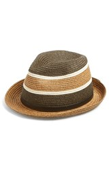 Women's Phase 3 Striped Straw Trilby