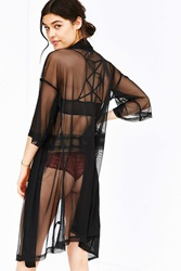 Out From Under Micro Mesh Kimono Robe Black