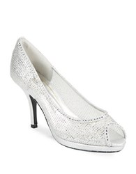 Caparros Metallic Stiletto Peep Toe Pumps Silver