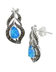 Lord And Taylor Sterling Silver And Faux Opal Feather Post Earrings Blue Silver