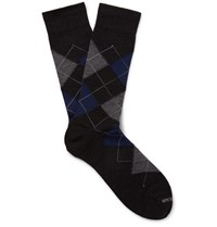 Marcoliani Argyle Merino Wool Blend Socks Charcoal