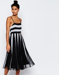 Asos Mono Mesh Fit And Flare Strappy Midi Dress Mono