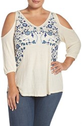 Lucky Brand Plus Size Women's Cold Shoulder Embroidered Peasant Top White Multi