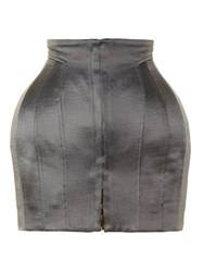 Balmain Structured Satin Mini Skirt Grey
