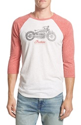Lucky Brand 'Indian Motorcycles' Graphic Baseball T Shirt Off White Red