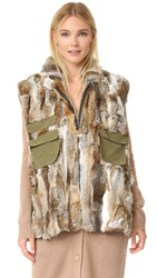 Adrienne Landau Rabbit Army Vest Natural Brown