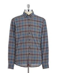 Strellson Plaid Button Down Shirt Blue