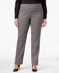 Charter Club Plus Size Plaid Slim Leg Pants Only At Macy's Charcoal Heather