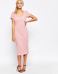 Jasmine Midi Dress With Scoop Back Pink
