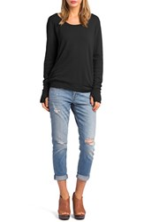 Women's Lamade Long Sleeve Thermal Tee With Thumbhole Cuffs Black