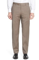 Zanella Men's 'Devon' Flat Front Plaid Wool Trousers Medium Beige