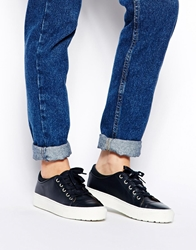 Whistles Daria Navy Leather Trainers