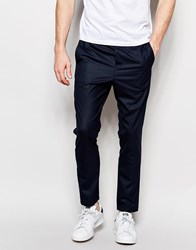 Jack And Jones Jack And Jones Premium Trousers With Stretch And Elasticated Waist In Slim Fit Blue