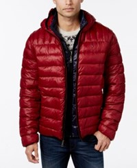 Tommy Hilfiger Hooded Packable Jacket Red Navy