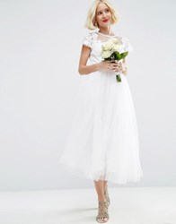 Asos Bridal Lace Applique Mesh Midi Prom Dress White