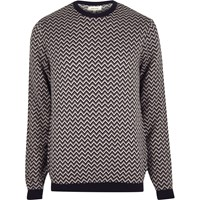 River Island Mens Navy Zig Zag Jumper
