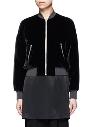 Alexander Wang Padded Silk Blend Velvet Bomber Jacket Black
