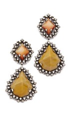 Dannijo Mandaria Earrings Tangerine Mustard Crystal Ox