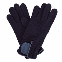 Gizelle Renee Theodore Navy Wool Gloves With Blue Tweed
