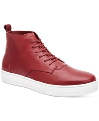Calvin Klein Men's Natel Fashion Athletic Tumbled Leather High Top Sneakers Men's Shoes Dark Red