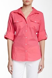Sandra Ingrish Knit Trim Roll Sleeve Button Down Shirt Pink