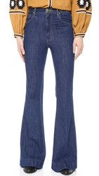 The Great. The High Rise Wide Leg Jeans Dark Indigo Wash