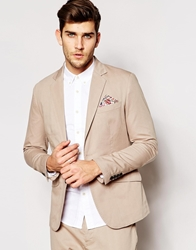 Antony Morato Casual Cotton Suit Jacket With Floral Pocket Square In Slim Fit Stone2033