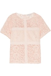 Rebecca Minkoff Aqua Crepe Trimmed Lace Top Peach