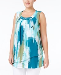 Jm Collection Plus Size Printed Embellished Blouse Only At Macy's Urban Aqua