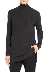 Eileen Fisher Women's Fine Rib Merino Turtleneck Tunic Charcoal