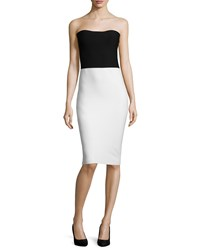 Halston Strapless Colorblock Sweater Dress Black White