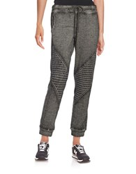 Betsey Johnson Ribbed Accent Knit Pants Charcoal