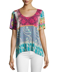 Plenty By Tracy Reese Back Tie Patchwork Print Tee Kantha Patchwork